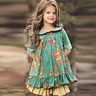 billiga -Barn Flickor söt stil Blommig Halvlång ärm Knälång Klänning Grön