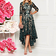 billige -Dame Elegant A-linje Kjole - Blomstret, Paljetter Asymetrisk kant Asymmetrisk / Blonder