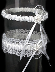 Garter Lace Satin Ribbon Flower White