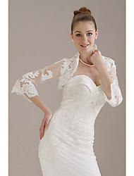 cheap -3/4-Length Sleeves Tulle  Lace Bridal Jacket / Wedding Wrap (WSM0401)