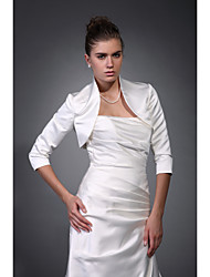 Beautiful 3/ 4-Length Sleeves Satin Bridal Evening Jacket/ Wedding Wrap Bolero Shrug
