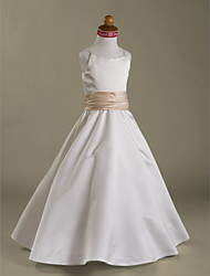 cheap -A-Line / Princess Floor Length Flower Girl Dress - Satin Sleeveless Spaghetti Strap with Ruffles / Ruched by LAN TING BRIDE® / Spring / Summer / Fall / Winter / First Communion