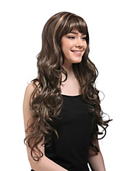 cheap -Synthetic Wig Wavy / Classic Style Capless Wig Brown Synthetic Hair 26 inch Women's Brown Wig Very Long