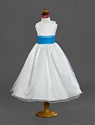 economico -Vestito dalla ragazza del fiore di lunghezza del tè della principessa di a-line - collo di scoop sleeveless dal raso di lan ting