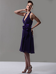 cheap -A-Line V Neck / Halter Neck Knee Length Chiffon Bridesmaid Dress with Bow(s) / Sash / Ribbon by LAN TING BRIDE®