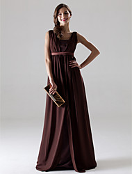 A-Line V-neck Floor Length Chiffon Bridesmaid Dress with Draping Sash / Ribbon by LAN TING BRIDE®