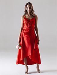 cheap -A-Line Spaghetti Straps Tea Length Asymmetrical Stretch Satin Bridesmaid Dress with Side Draping by LAN TING BRIDE®