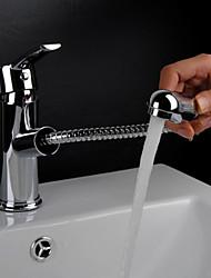 preiswerte -Traditionell Mittellage Mit ausziehbarer Brause Keramisches Ventil Einhand Ein Loch Chrom, Waschbecken Wasserhahn