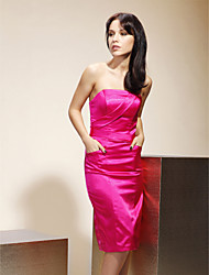 Sheath / Column Strapless Knee Length Stretch Satin Bridesmaid Dress with Pockets by LAN TING BRIDE®