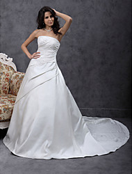 A-Line Princess Strapless Chapel Train Satin Wedding Dress with Beading Appliques Side-Draped by LAN TING BRIDE®