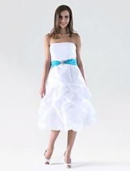 cheap -A-Line / Princess Strapless Knee Length Taffeta Bridesmaid Dress with Pick Up Skirt / Sash / Ribbon / Crystal Brooch by LAN TING BRIDE® / Color Block
