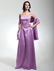 Sheath / Column Spaghetti Straps Floor Length Satin Bridesmaid Dress with Beading by LAN TING BRIDE®