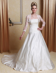 cheap -A-Line Princess Scalloped-Edge Court Train Satin Wedding Dress with Beading Appliques by LAN TING BRIDE®