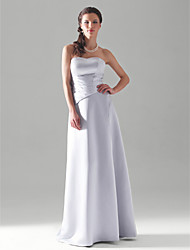 A-Line Princess Strapless Floor Length Satin Bridesmaid Dress with Side Draping by LAN TING BRIDE®