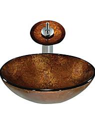 Недорогие -Круглая раковина, из закаленного стекла, с краном в виде водопада, монтажные кольца и канализация