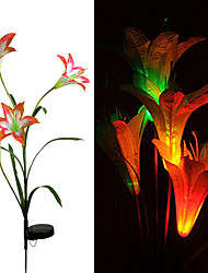 1pcs led solar powered lamp lily flor luz casa exterior jardin quintal paisagem