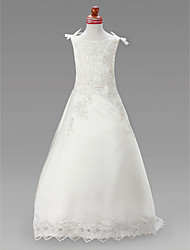 cheap -A-Line Court Train Sweep / Brush Train Flower Girl Dress - Satin Sleeveless Jewel Neck with Beading by LAN TING BRIDE®