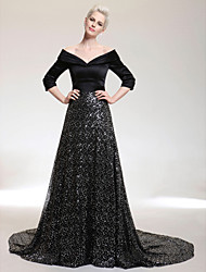 A-Line V-neck Off-the-shoulder Court Train Satin Sequined Formal Evening Dress with Sequins by TS Couture®