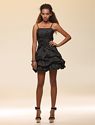 cheap -A-Line Spaghetti Strap Short / Mini Taffeta Little Black Dress Cocktail Party Dress with Bow(s) by TS Couture®