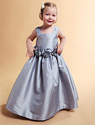 cheap -A-Line / Ball Gown / Princess Floor Length Flower Girl Dress - Taffeta Sleeveless Square Neck with Draping / Flower by LAN TING BRIDE® / Spring / Summer / Fall / Winter / Wedding Party