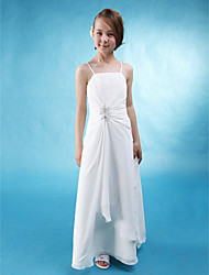 A-Line Spaghetti Straps Floor Length Chiffon Stretch Satin Junior Bridesmaid Dress with Beading Side Draping by LAN TING BRIDE®