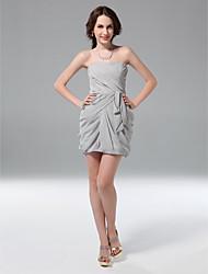 economico -Guaina / colonna senza spalline corto / mini abito da festa chiffon con ruching da ts couture®