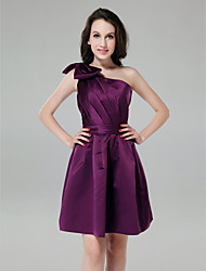 A-Line Princess One Shoulder Knee Length Satin Bridesmaid Dress with Bow(s) Side Draping