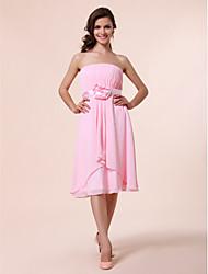 cheap -A-Line / Princess Strapless Knee Length Chiffon Bridesmaid Dress with Draping / Sash / Ribbon / Flower by LAN TING BRIDE®