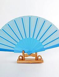 Light Sky Blue Silk Hand Fans (set of 6)