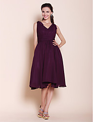 cheap -A-Line / Princess V Neck Knee Length Chiffon Bridesmaid Dress with Bow(s) / Draping / Ruched by LAN TING BRIDE®