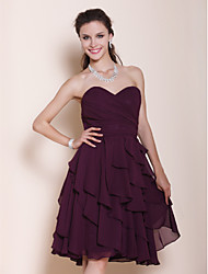 cheap -A-Line Princess Strapless Sweetheart Knee Length Chiffon Bridesmaid Dress with Side Draping by LAN TING BRIDE®