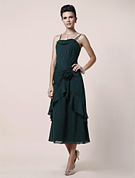 cheap -A-Line Spaghetti Straps Tea Length Chiffon Mother of the Bride Dress with Flower Side Draping by LAN TING BRIDE®