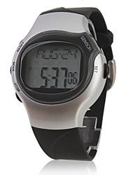 Herren Sportuhr digital LCD Pulsmesser Kalender Chronograph Alarm Band Schwarz Silber