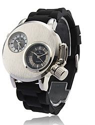 cheap -Men's Military Watch Dual Time Zones Silicone Band Black