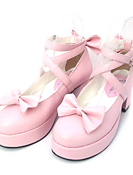 Lolita Shoes Sweet Lolita Princess High Heel Shoes Bowknot 6.5 CM Black Pink For PU Leather/Polyurethane Leather Polyurethane Leather