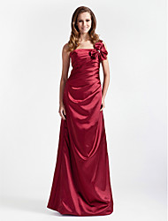 A-Line Princess One Shoulder Floor Length Stretch Satin Bridesmaid Dress with Bow(s) Ruching by LAN TING BRIDE®