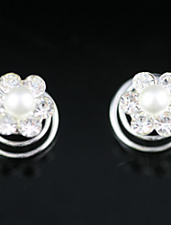 Headpieces In 2 Pieces Gorgeous Rhinestones/ Imitation Pearl Wedding Headpieces