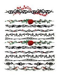 economico -6 pezzi di gioielli e fiori misti tatuaggio temporaneo