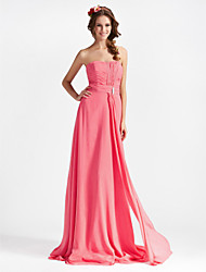 Sheath / Column Strapless Floor Length Chiffon Bridesmaid Dress with Draping Crystal Brooch Ruching by LAN TING BRIDE®