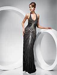 cheap -Sheath / Column Halter Neck Floor Length Polyester Open Back Formal Evening Dress with Beading by TS Couture®