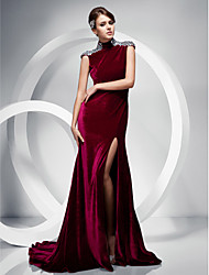 Mermaid / Trumpet High Neck Sweep / Brush Train Velvet Evening Dress by TS Couture®
