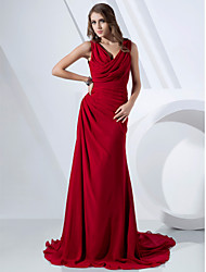 Sheath / Column V-neck Cowl Neck Sweep / Brush Train Chiffon Formal Evening Dress with Side Draping by TS Couture®