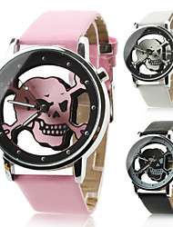 Unisex Women's Men's Watch Quartz Analog Hollow Skull Dial PU Band Halloween Wrist Watch (Assorted Colors)Strap Watches Unique Watches Fashion Watch