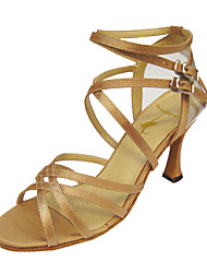 baratos -Mulheres Latina Dança de Salão Courino Cetim Sandália Salto Presilha Salto Agulha Dourado Preto