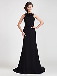 Sheath / Column Straps Sweep / Brush Train Chiffon Formal Evening Dress with Ruffles by TS Couture®