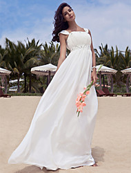 cheap -A-Line Scoop Neck Floor Length Chiffon Custom Wedding Dresses with Beading Draping by LAN TING BRIDE®