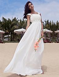 abordables -Corte en A Hasta el Suelo Raso Vestido de novia con Cuentas En Cortina por LAN TING BRIDE®