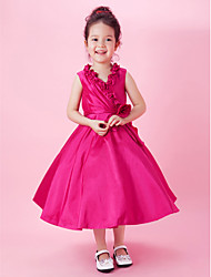 cheap -A-Line / Princess Tea Length Flower Girl Dress - Taffeta Sleeveless V Neck with Bow(s) / Draping / Side Draping by LAN TING BRIDE® / Spring / Summer / Fall / Wedding Party
