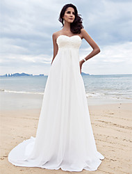 cheap -A-Line Sweetheart Court Train Chiffon Custom Wedding Dresses with Beading Appliques by LAN TING BRIDE®