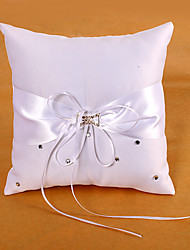 Ring Pillow In White Satin With Sash And Rhinestones Wedding Ceremony
